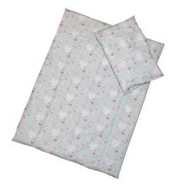ANTONY FASHION - Obliečky (šedé) - Srdiečka, veľkosť: 120x90 (paplón) + 40x60 (vankúš)