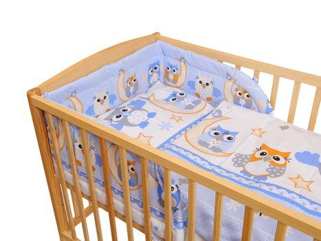 ANTONY FASHION - Trojdielna súprava - obliečky + mantinel (modrá) - Sovy - veľké, veľkosť: 120x90 (paplón) + 40x60 (vankúš)