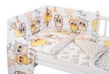 BABY NELLYS - 3- dielná sada mantinel s obliečkami Cute Owls - béžová