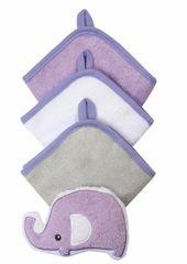 BABYONO - Súprava 3 umývacích utierok so špongiou - fialová