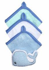 BABYONO - Súprava 3 umývacích utierok so špongiou - modrá