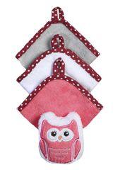 BABYONO - Súprava 3 umývacích utierok so špongiou - ružová