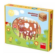DINOTOYS - Drevené kocky Domáce zvieratká 12 ks