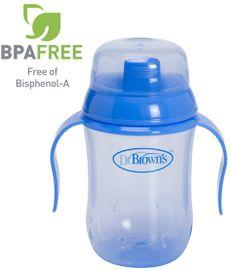 DR.BROWNS - Hrnček výučbový modrý (D942) BPA FREE - vodotesný vnútorný systém