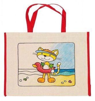GOKI - Detská Eko bavlnená taška k vyfarbenie, 39x31,5cm - Mačka
