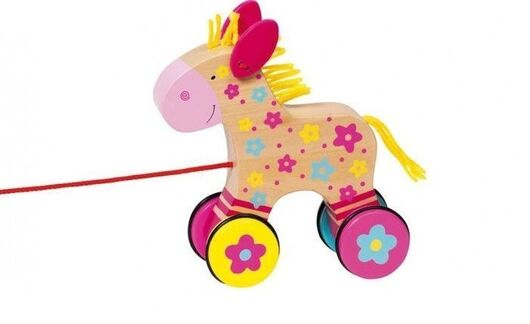 GOKI - Edukačná drevená hračka 15 cm ťahacia - Koníček Klára