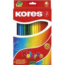 KORES - Pastelky Kolores Trio 36 farieb