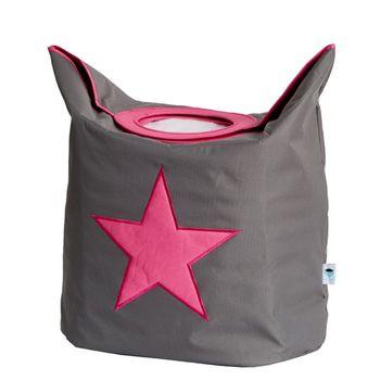 LOVE IT STORE IT - Box na bielizeň - šedý, ružová hviezda