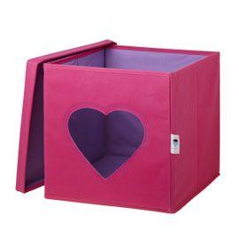 LOVE IT STORE IT - Úložný box na hračky s krytom a okienkom - srdce