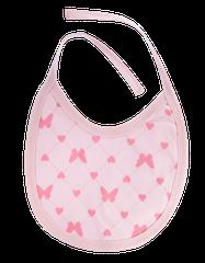 MAMATTI - Podbradník bavlna Motýlik srdiečko, růžový