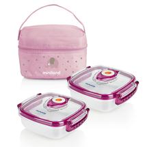 MINILAND - Termoizolačné púzdro + 2 hermetické misky na jedlo Pink