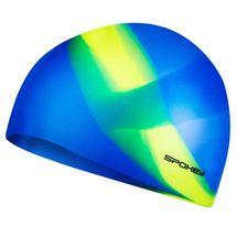 SPOKEY - ABSTRACT-Plavecká čiapka silikónová modrá so žltým pruhom