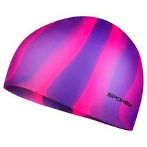 SPOKEY - ABSTRACT-Plavecká čiapka silikónová fialovo-ružové pruhy