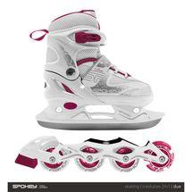 SPOKEY - DUE 2IN1 Korčule bielo-ružové, regulovateľné, veľ. 30-33