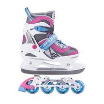 SPOKEY - ROGUE korčule zimné a letné regulovateľné vel. 29-32 bielo-ružové