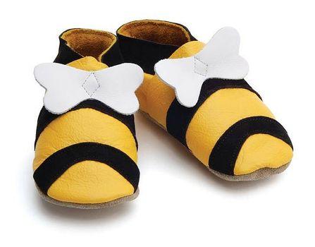 STARCHILD - Kožené topánočky - Bee Yellow - veľkosť S (0-6 mesiacov)