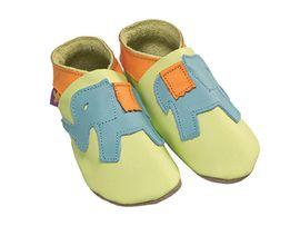 STARCHILD - Kožené topánočky - Ellie Elephant Aqua and Sherbert - veľkosť S (0-6 mesiacov)