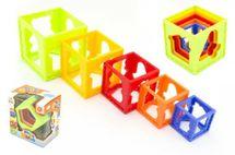 TEDDIES - Kubus pyramída skladačka hranatá plast 5ks v krabičke 15x16x10cm 12m +