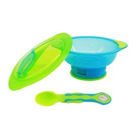 VITAL BABY - Miska s prísavkovou nohou Unbelievabowl - s vekom a lyžičkou - modro-zelená