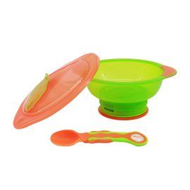 VITAL BABY - Miska s prísavkovou nohou Unbelievabowl - s vekom a lyžičkou - oranžovo-zelená