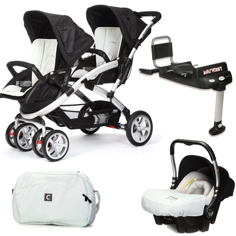 CASUALPLAY - Set kočík pre dvojičky Stwinner, 2 x autosedačka Baby 0plus, 2x BaseFix Baby 0 a Bag 2016 - ICE.