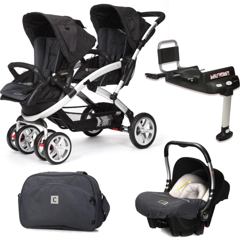 CASUALPLAY - Set kočík pre dvojičky Stwinner, 2 x autosedačka Baby 0plus, 2x BaseFix Baby 0 a Bag 2016 - Metal
