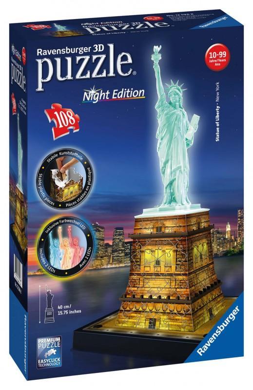 7e67d6d7aed15 RAVENSBURGER - Socha Slobody 3D (Nočné edícia) 108D - Market24.sk