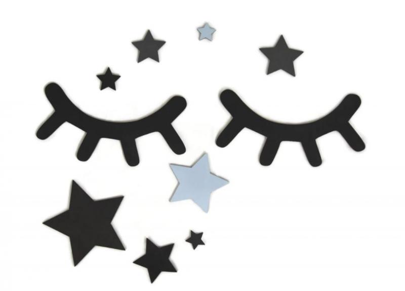 ADAM TOYS - Dekorácie na stenu - Spiace očká s hviezdičkami, modré