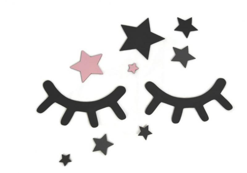 ADAM TOYS - Dekorácie na stenu - Spiace očká s hviezdičkami, ružové