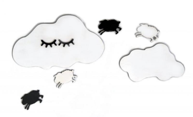 ADAM TOYS - Dekorácie na stenu - Spiaci mráčik s ovečkama, bielo/čierne