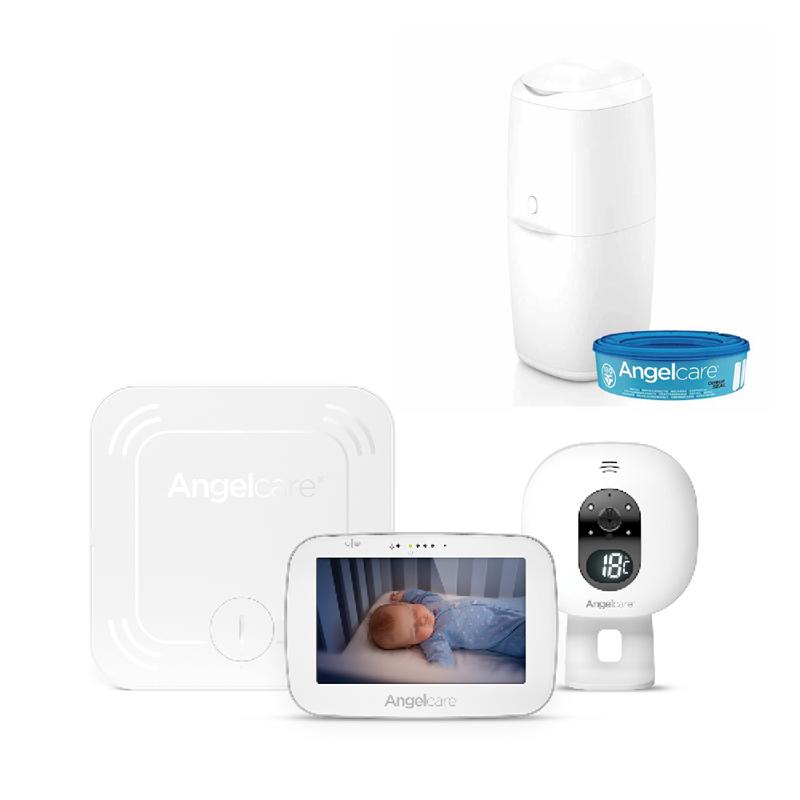 ANGELCARE - AC527 Monitor pohybu dychu a el. video pestúnka + kôš na plienky Classic