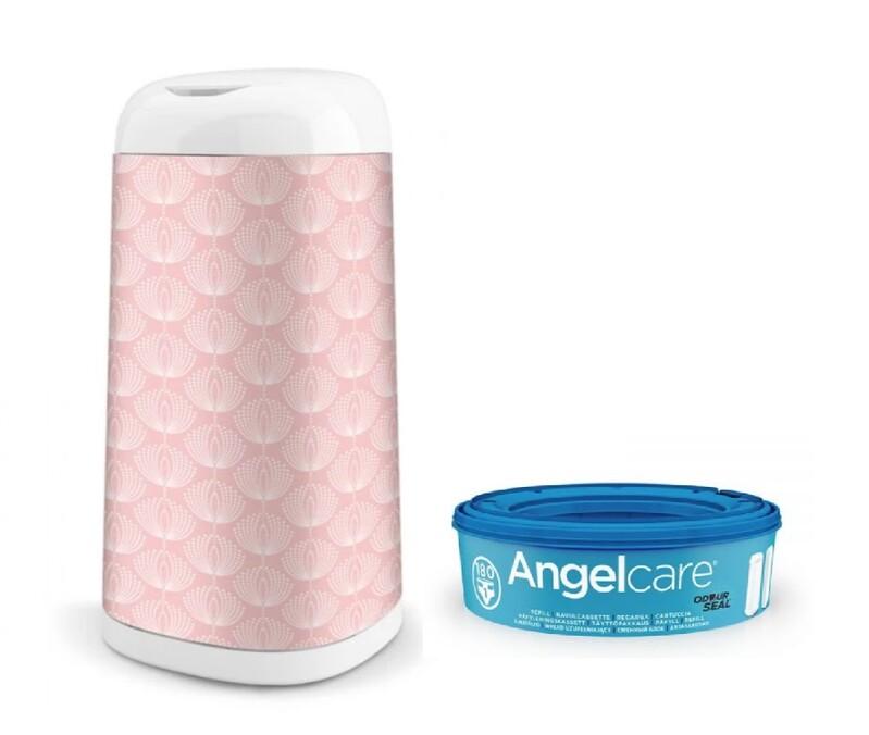 ANGELCARE - Kôš na plienky Dress Up +1 kazeta + poťah na kôš Flower