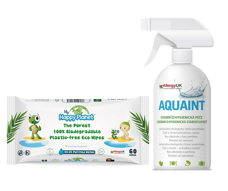 AQUAINT - Aquaint darčekový set 500 ml + obrúsky HAPPY PLANET