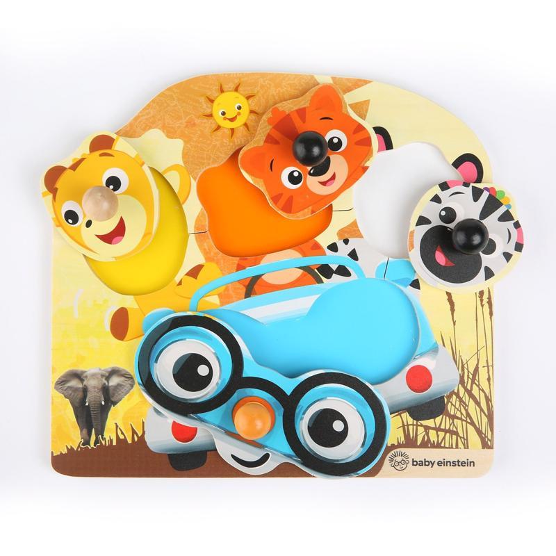 BABY EINSTEIN - Hračka drevená puzzle Friendy Safari Faces HAPE 12m+