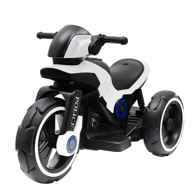 BABY MIX - Detská elektrická motorka POLICE biela