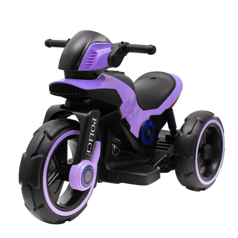 BABY MIX - Detská elektrická motorka POLICE fialová