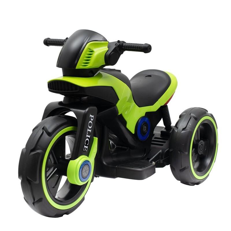 BABY MIX - Detská elektrická motorka POLICE zelená