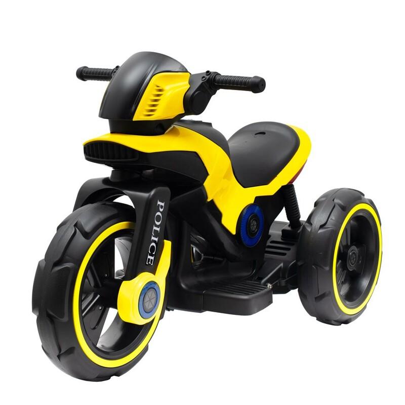 BABY MIX - Detská elektrická motorka POLICE žltá