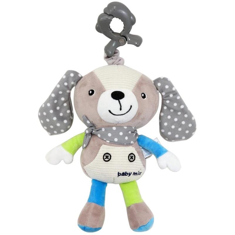 BABY MIX - Detská plyšová hračka s hracím strojčekom Psíček béžový