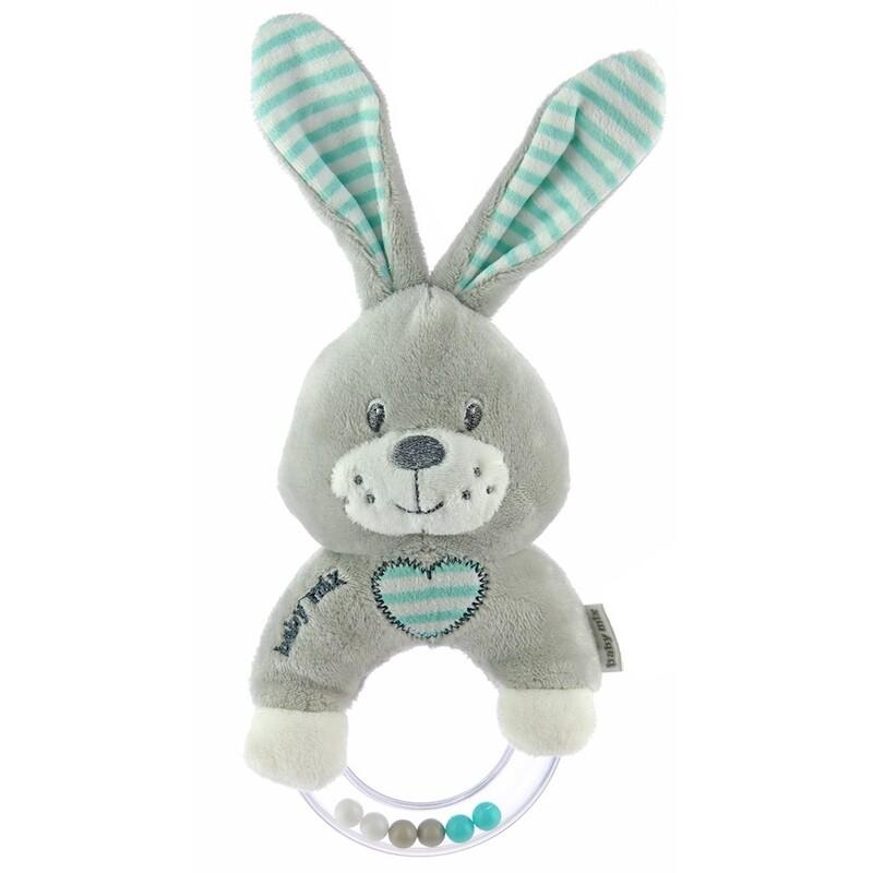 BABY MIX - Detská plyšová hrkálka králik mätový