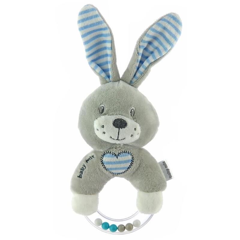 BABY MIX - Detská plyšová hrkálka králik modrý