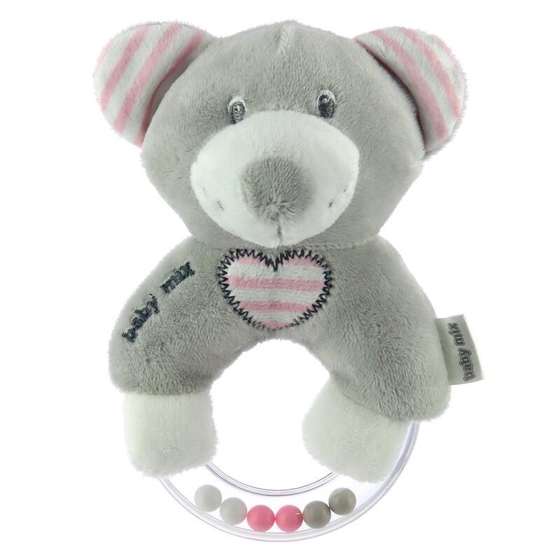 BABY MIX - Detská plyšová hrkálka medvěd modrý