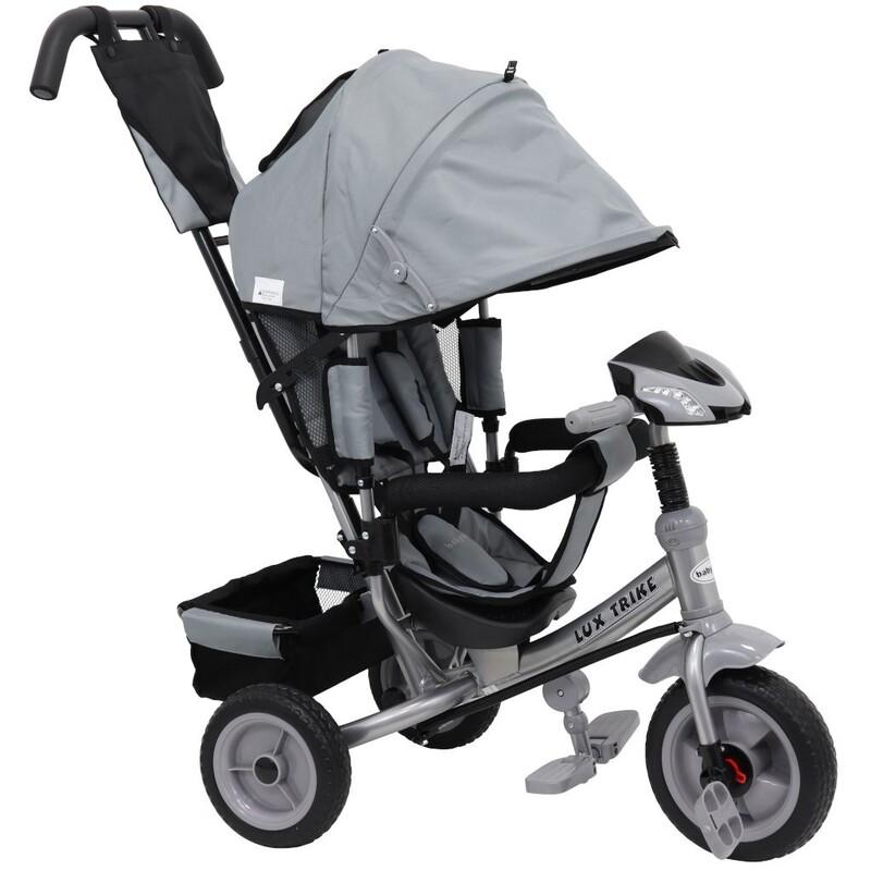 BABY MIX - Detská trojkolka so svetlamiLux Trike sivá