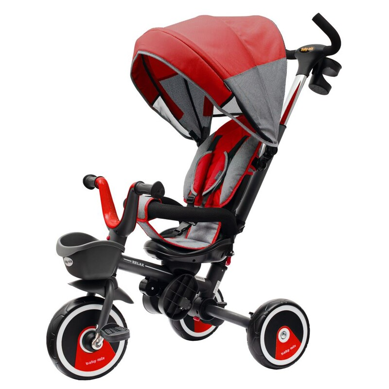 BABY MIX - Detská trojkolka5v1 RELAX 360° červená