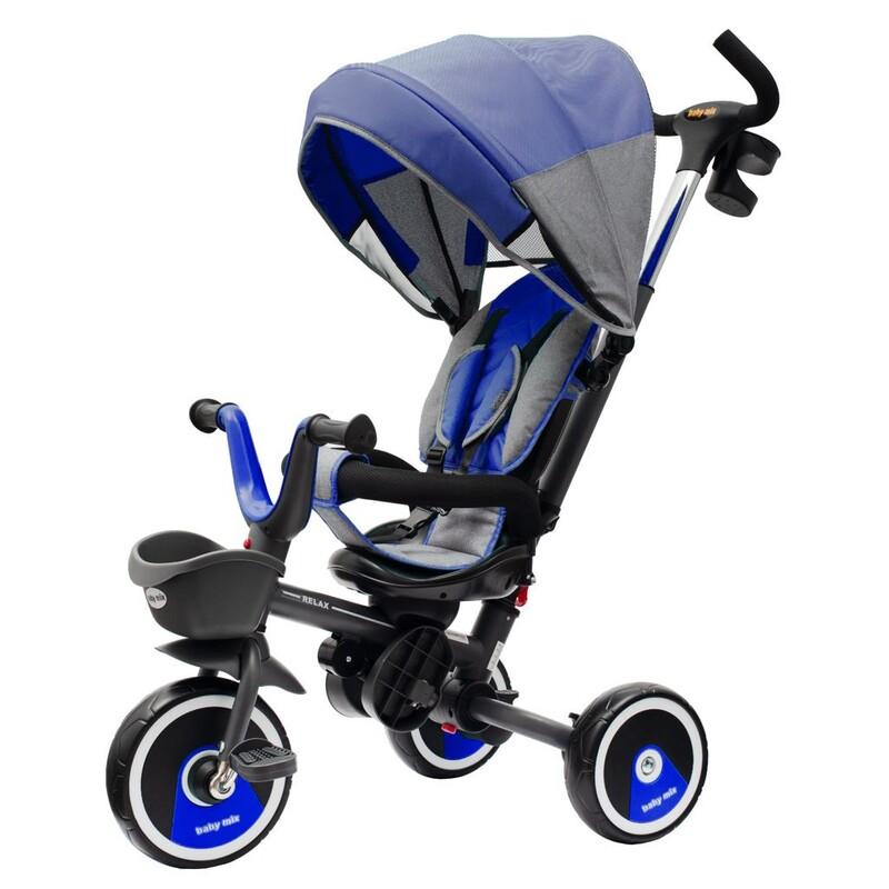 BABY MIX - Detská trojkolka5v1 RELAX 360° modrá