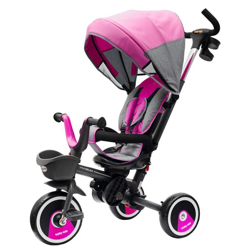 BABY MIX - Detská trojkolka5v1 RELAX 360° ružová