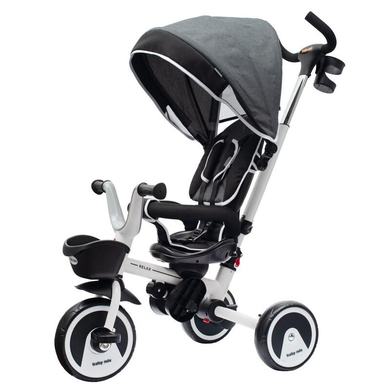 BABY MIX - Detská trojkolka5v1 RELAX 360° sivá