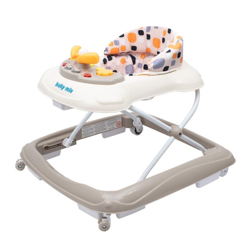 BABY MIX - Detské chodítko s volantom a silikónovými kolieskami beige