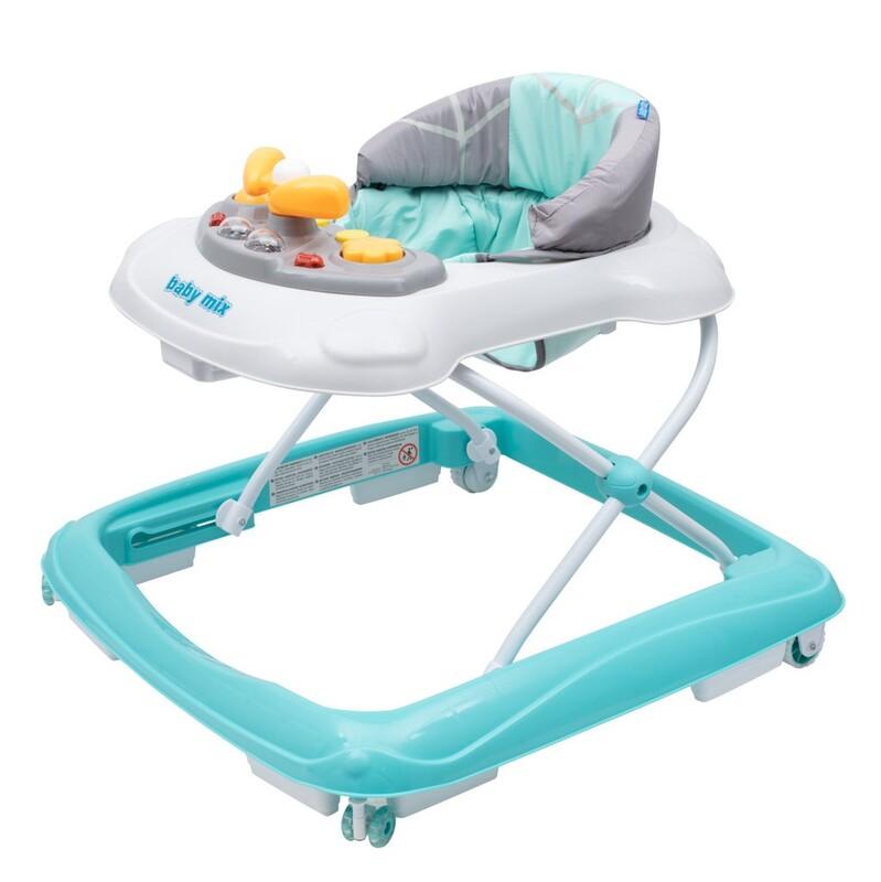BABY MIX - Detské chodítko s volantom a silikónovými kolieskami mätové