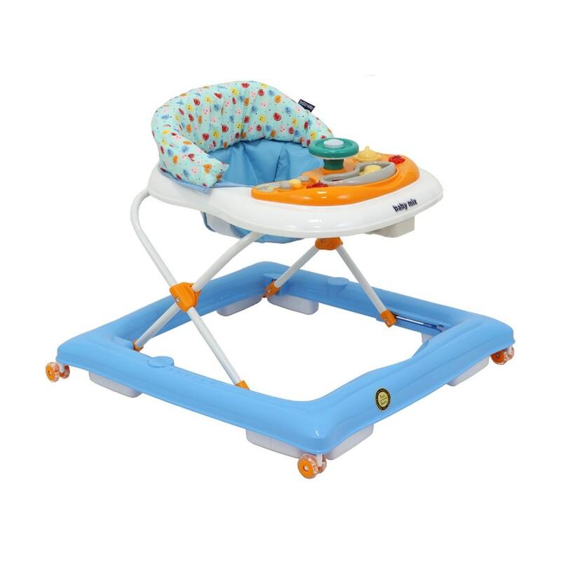 BABY MIX - Detské chodítko s volantom a silikónovými kolieskami modro-biele